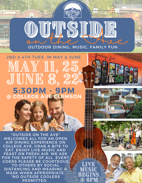 """Outside on the Ave with """"The Bounce Band"""" Tuesday, June 22, 2021, 5:30 - 9:00pm"""