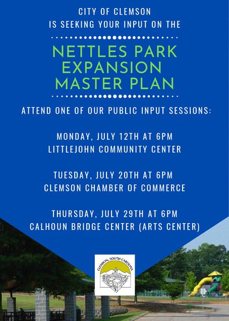 Nettles Park Master Plan Public Input Sessions 7:00pm Littljohn Community Center
