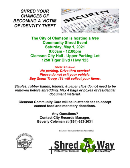 City of Clemson Shred Day May 1, 2021