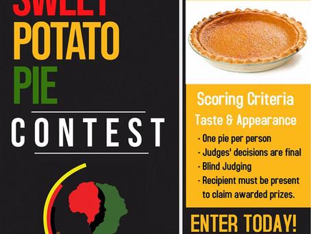 Best Sweet Potato Pie Contest - June 19, 2021, 11:00am - Norton Thompson Park Downtown Seneca, SC.