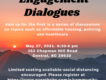 Clemson United for Racial Equity Presents Community Engagement Dialogues, May 27, 2021 6:30 - 8:00pm