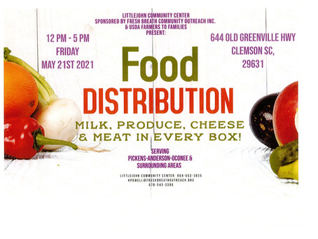 Food Distribution @ Littlejohn Community Center - May 21, 2021 12pm-5pm