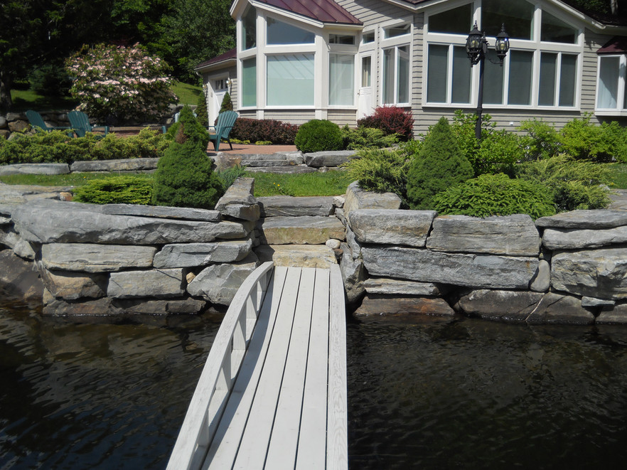 Lakefront Stone Steps and Retaining Wall