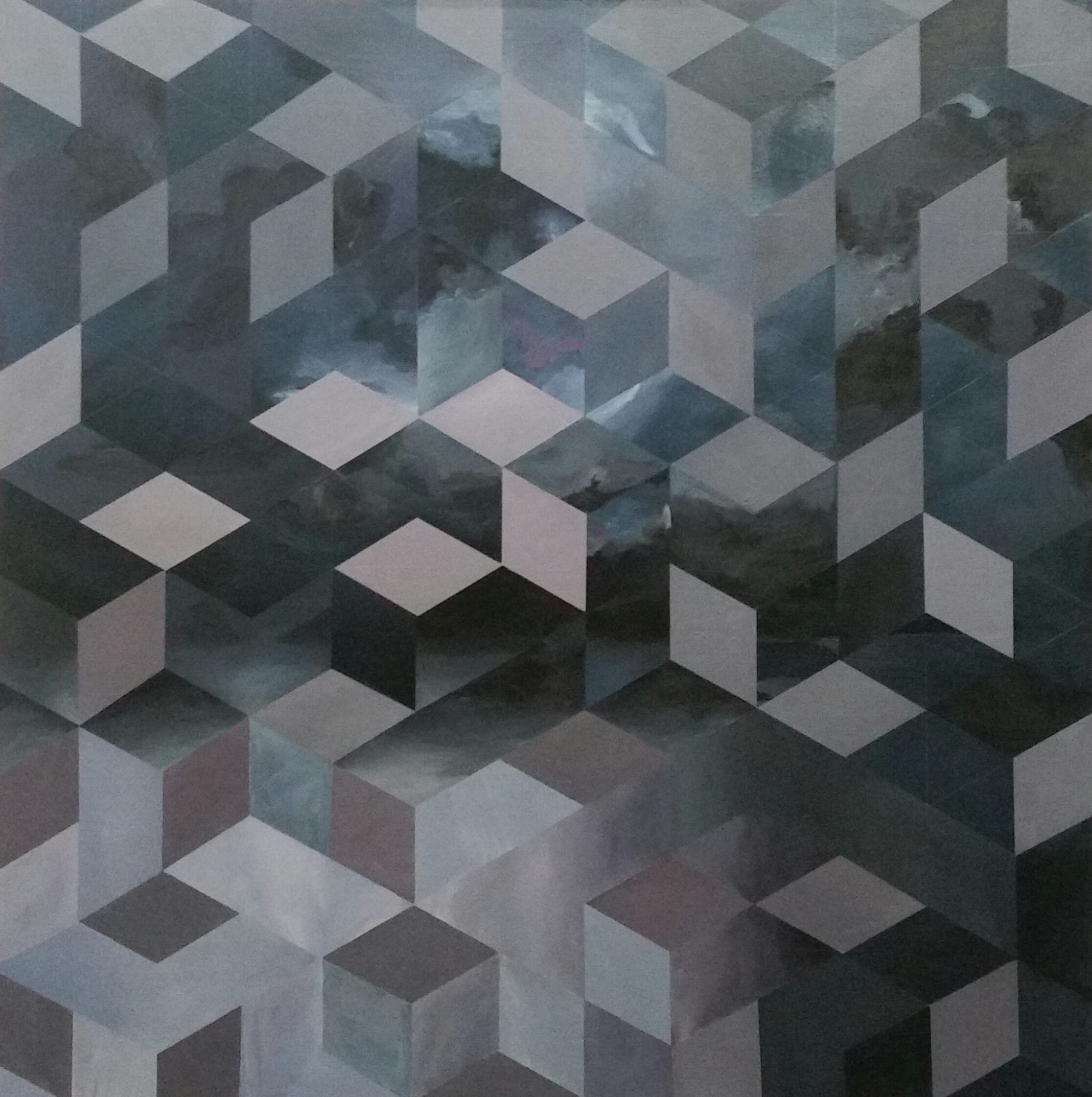 """Cubic Space"" 2016 39""x39"""
