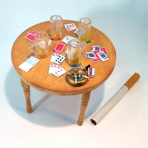 12th Scale Pub Table with Card Game