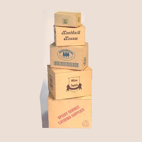Stack of 5 Brown Boxes