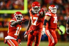 Kansas City Chiefs wide receivers Tyreek Hill (10) and Chris Conley (17)
