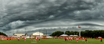 A massive storm looms above the Kansas City Chiefs Training Camp on the campus of Missouri Western State University in 2016