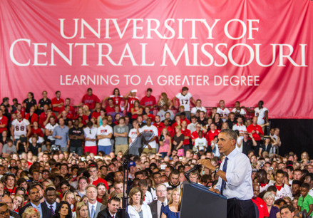 United States President Barack Obama delivers a speech at the University of Central Missouri in 2013