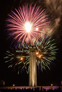 Fireworks burst behind the Liberty Memorial at the 2016 Celebration at the Station event in Kansas City, Missouri