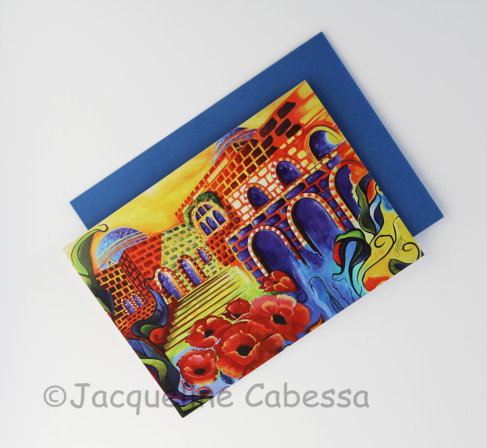 Peace: Folded blank note card with royal envelope