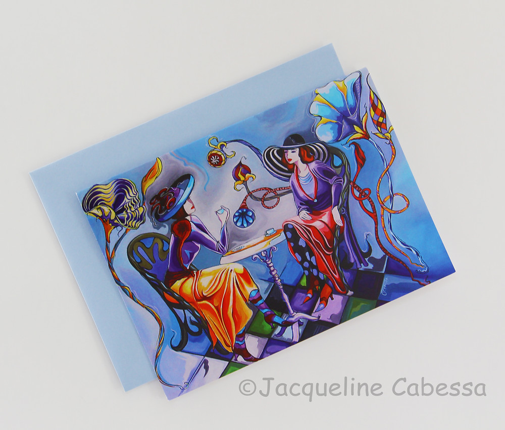 Blue Sonetto: 5x7 folded blank note card with light blue envelope