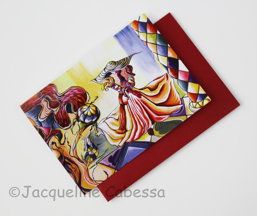 Prelude: 5x7 blank folded note card with red envelope
