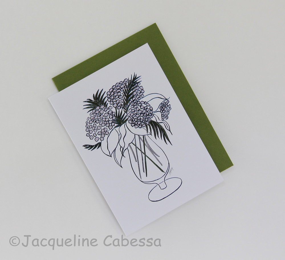 Hydrangeas: Folded note card with moss envelope