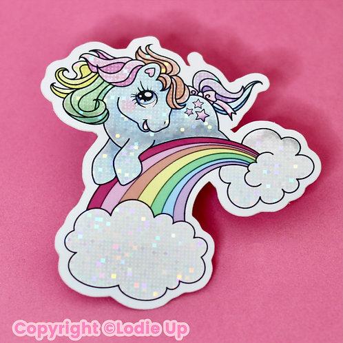 Rainbow Pony - Sticker Pailleté- Autocollant Vinyl