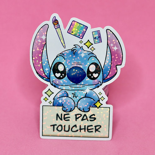Ne pas toucher - Sticker Pailleté -Français