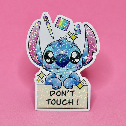 Don't touch - Sticker Pailleté - Anglais