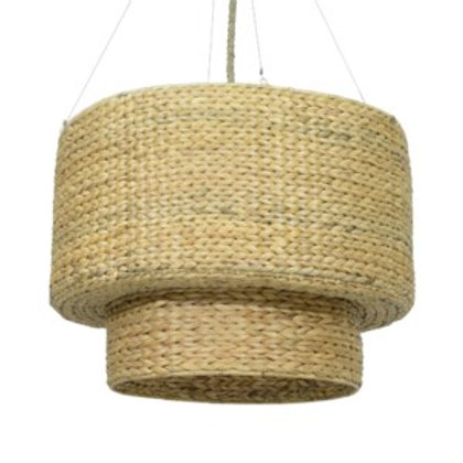 "JEFFAN Raja 32"" Double Drum Seagrass Chandelier #LM-70830-NT"