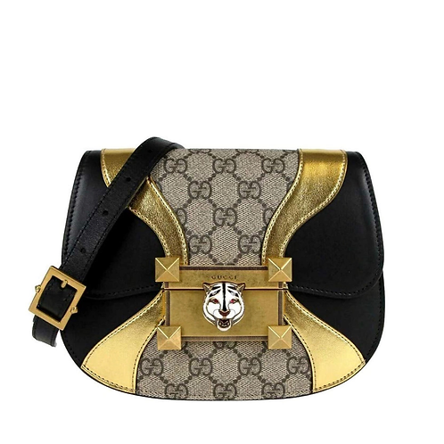 Gucci Womens GG Supreme Canvas Black Gold Osiride Shoulder Bag 500781