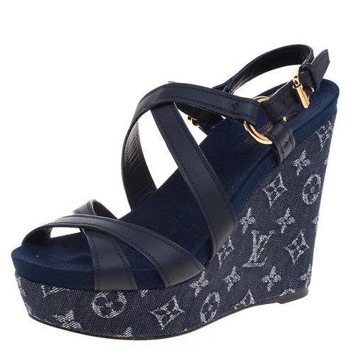 Sandálias Louis Vuitton Blue Denim e Couro Ocean Criss Cross Wedge 37 🇧🇷