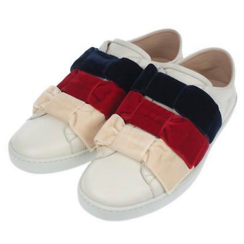 NEW GUCCI CURRENT ACE LEATHER & VELVET BOW SLIP-ON SNEAKERS 37,5