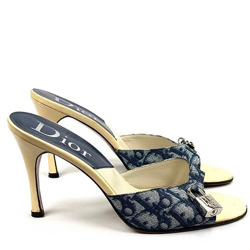 Christian Dior Trotter Salto sandálias Navy Itália Vintage AUTÊNTICO