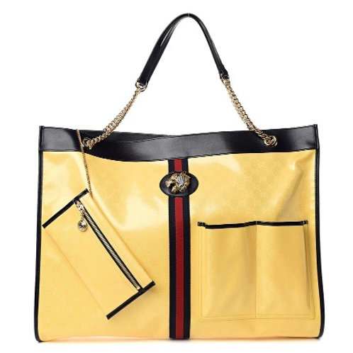 Rajah Gg Supreme Canvas Tote In Yellow/ Black/ Blue/ Red