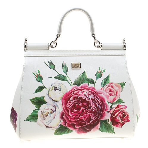 Dolce and Gabbana White Leather Peony Medium Miss Sicily Top Handle Bag