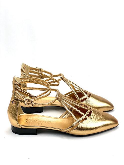 CHANEL LAMINATED LAMBSKIN GOLD 36,5