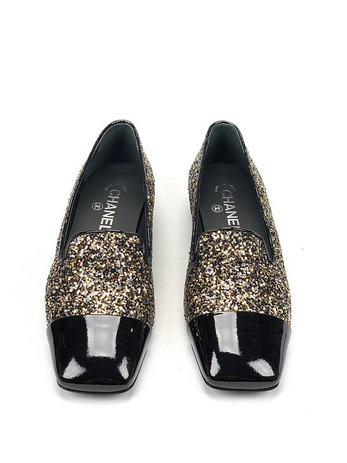 Bronze/Black 17k Milky Way Glitter Patent Cap Toe Loafers Moccasins Flats
