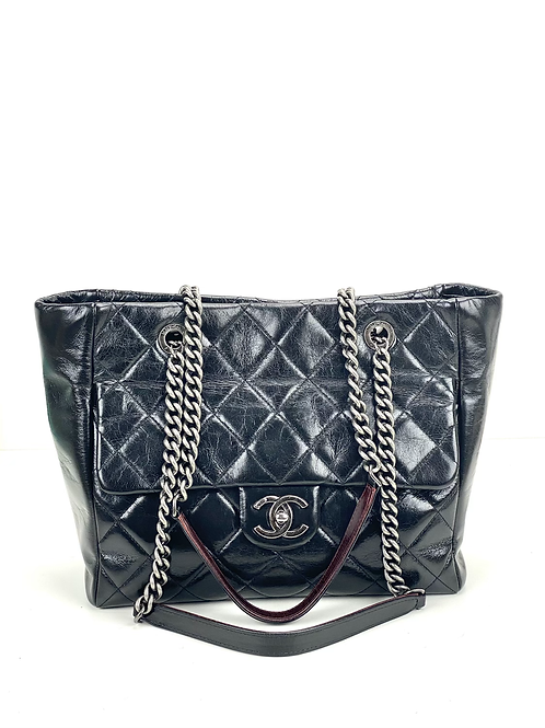 Chanel Glazed Calfskin Quilted duo color Tote black