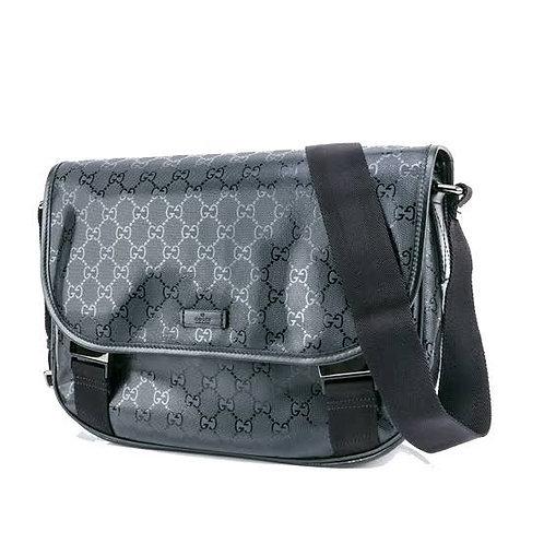 GUCCI GG Imprime Messenger Shoulder Bag BLUE Coated Canvas 201725LUE