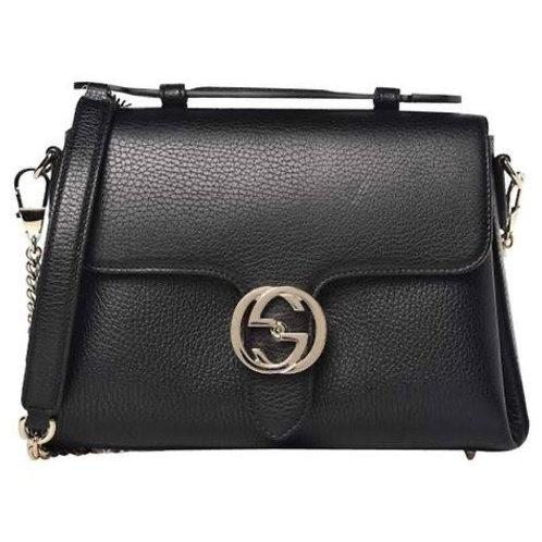 Gucci GG Interlocking Leather Chain Top Handle Bag Black