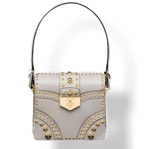 PRADA  Saffiano Studded Leather Top Handle Bag B5045M