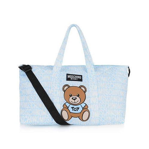 MOSCHINO BLUE TEDDY LOGO DIAPER BAG