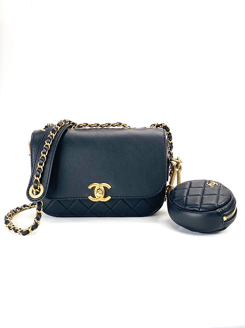 CHANEL Chanel Calfskin Flap Bag and Coin Purse