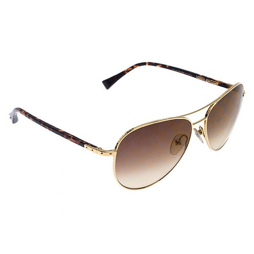 LOUIS VUITTON Goldtone Metal Frame Monogram Conspiration Pilote Sunglasses-Z0164