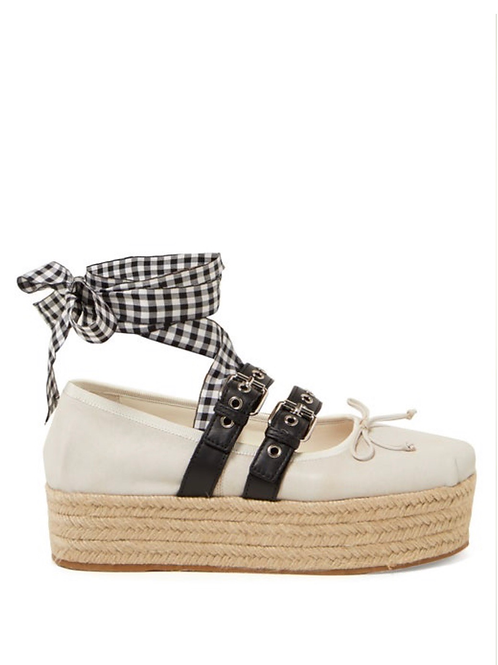 Buckle-fastening leather ballerina espadrilles 36