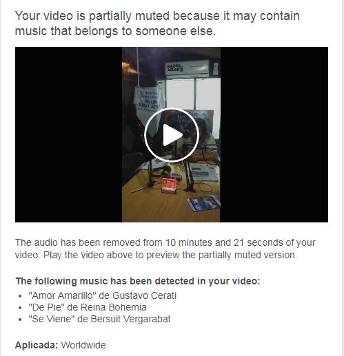 Su video está parcialmente silenciado porque puede contener música que le pertenece a otra persona.
