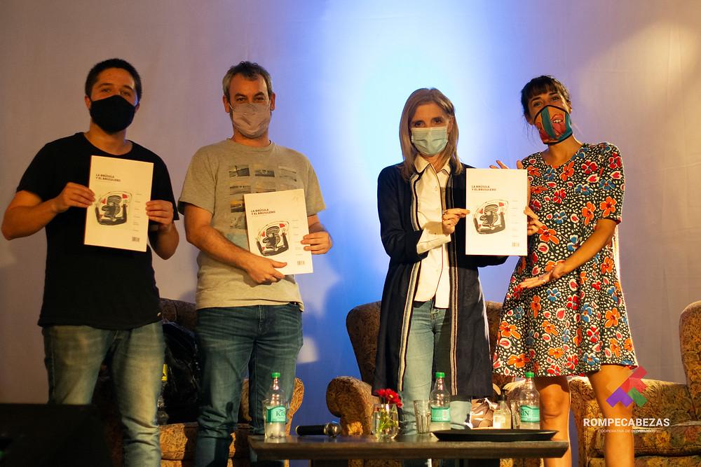 Rodrigo Franco (Rompecabezas Coop.), Federico Amigo (Por Más Tiempo Coop.), Bernarda Llorente (Télam) y Julieta Laborde (Cítrica Audiovisuales)