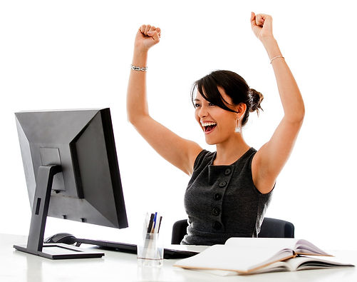 happy woman with computer, achievement