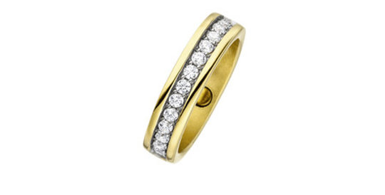 Magnetic Ring Glitz Zirconia, gold plated