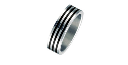 Mens Magnetic Ring Black Stripes