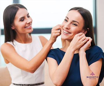 two womenare trying magnetic earrings in Australia, Magnetic Therapy