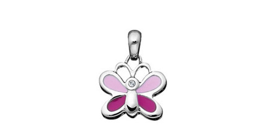 Kids magnetic pendant Butterfly, pink