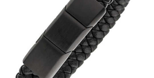 Magnetic Leather Bracelet, black