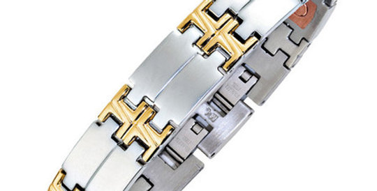 Magnetic Bi-Colour Link Bracelet, with Copper