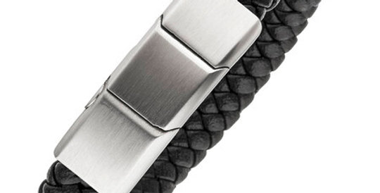 Magnetic Leather Bracelet, silver clasp