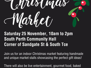 Find our stall at Christmas Market in South Perth Community Hall