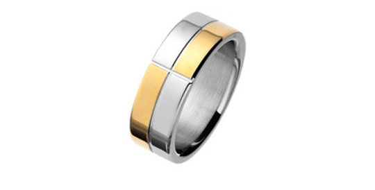 Magnetic Ring Chequered, gold plated